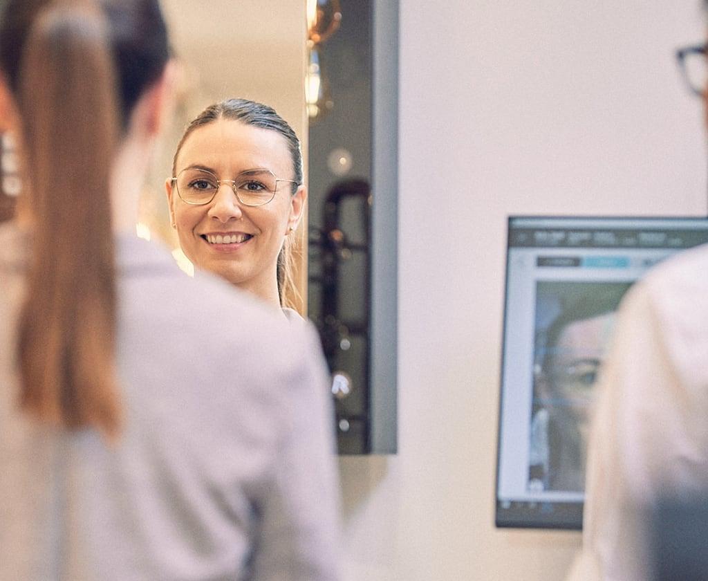 Brillenglaszentrierung am Bildschirm